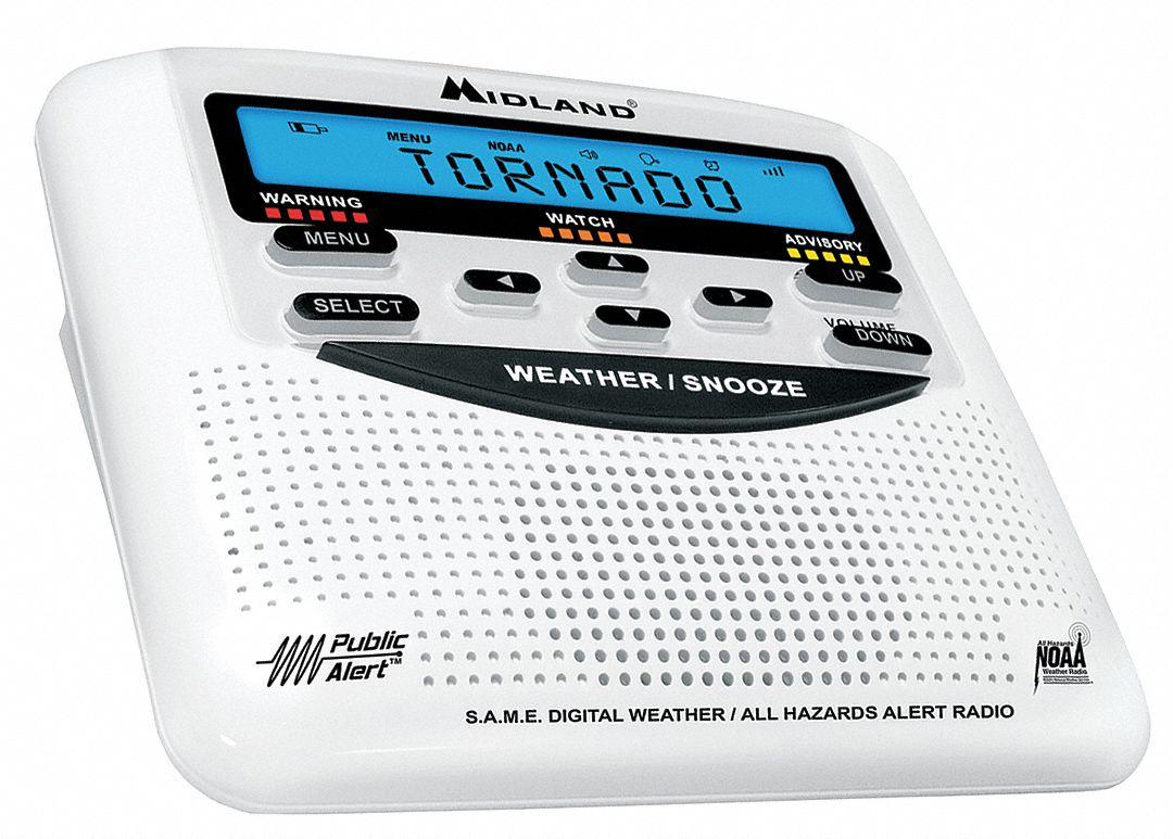 Midland Portable Table Top Weather Radio White Noaa