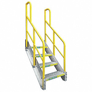 Stair Unit, Aluminum, 1000 lb. Load Capacity, Number of Steps: 4
