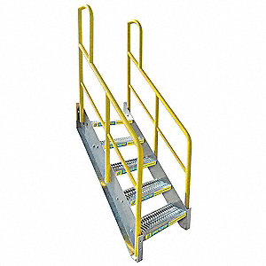 Stair Unit, Aluminum, 1000 lb. Load Capacity, Number of Steps: 5