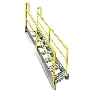Stair Unit, Aluminum, 1000 lb. Load Capacity, Number of Steps: 8