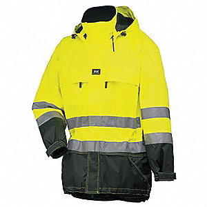 Men's Hi-Visibility Yellow Polyurethane Rain Jacket with Detachable Hood, Size 2XL, Fits Chest Size