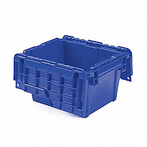 "Attached Lid Container, 0.3 cu. ft. Volume Capacity, 11-3/4"" Outside Length, 9-3/4"" Outside Width"