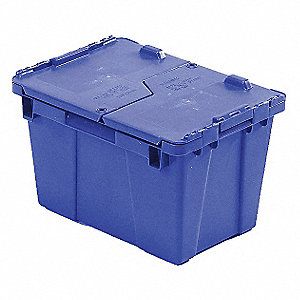 "Attached Lid Container, 0.6 cu. ft. Volume Capacity, 15-1/5"" Outside Length, 10-9/10"" Outside Width"