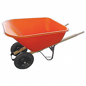 Wheelbarrow, 8 cu. ft. Capacity, Tray Material: Polyethylene, Number of Wheels: 2