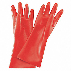 Red Electrical Gloves, Rubber, 0 Class, Size 10