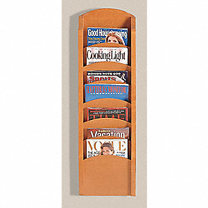 Literature Rack,7 Pocket,Medium Finish