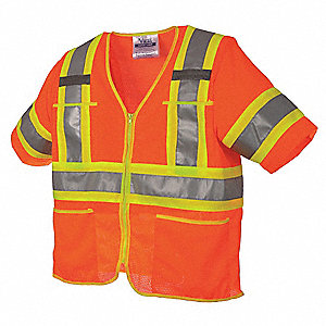 Hi-Viz Orange High Visibility Vest, Size: L, 3 ANSI Class, Zipper Closure Type