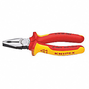 "Insulated Linemans Plier, 6-1/4"" Overall Length, Handle Type: Ergonomic"