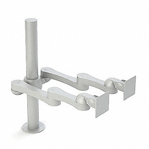 Silver Dual Monitor Arm, Clamp Mount, 17-1/2 lb. Each Arm Weight Capacity
