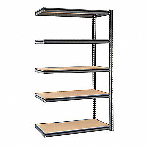 "Gray Boltless Shelving Add-On Unit, 84"" Height, 48"" Width, Number of Shelves 5"