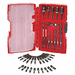 Drill Bit Set,35 Pc,1/4 In Shank
