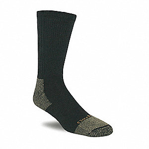 Crew 66% Cotton, 24% Nylon, 9% Acrylic, 1% Lycra Spandex Work Socks, Men's, Black, 1 PR