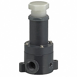 PVC Adjustable Back Pressure Relief Valve, FNPT Inlet Type, FNPT Outlet Type