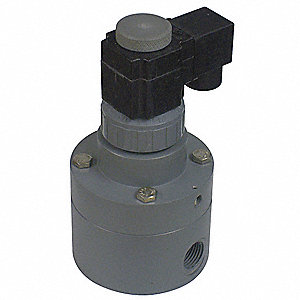 PVC Solenoid Valve, 3-Way/2-Position Valve Design, Normally Closed
