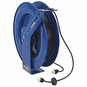Blue Retractable Cord Reel, 20 Max. Amps, Cord Ending: Reverse Plug, 100 ft. Cord Length
