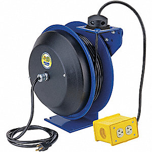 Cord Reel,50 ft,12/3,SJO,Blue,120VAC