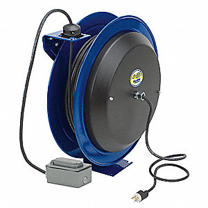 Blue Retractable Cord Reel, 20 Max. Amps, Cord Ending: Outlet Box, 100 ft. Cord Length