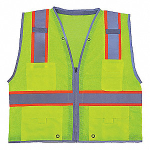Lime High Visibility Vest, Size: 3XL, 2 ANSI Class, Zipper Closure Type