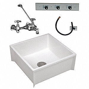 White Mop Sink Kit, With Faucet