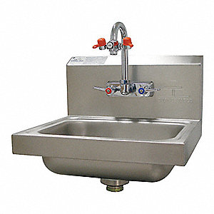 Stainless Steel Hand Sink/Eye Wash, With Faucet, Wall Mounting Type, Silver