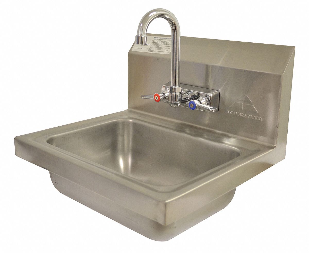 Advance Tabco Stainless Steel Hand Sink With Faucet Wall