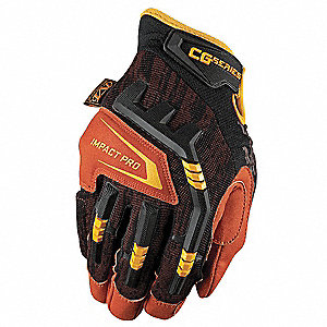 Leather Mechanics Gloves, Synthetic Leather Palm Material, Black/Rust, L, PR 1