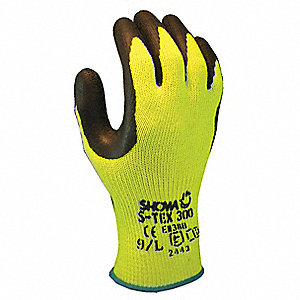 Natural Rubber Latex, Cut Resistant Gloves, Polyester/Stainless Steel Lining, Yellow/Black, S, PR 1
