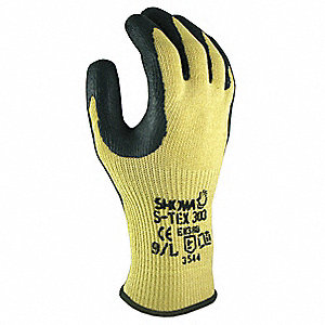 Natural Rubber Latex, Cut Resistant Gloves, Kevlar®, Stainless Steel Lining, Yellow/Black, XL, PR 1