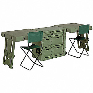 "Olive Drab Green Double Field Desk, 34"" Overall Length, 25"" Overall Width, 28-1/2"" Overall Depth"