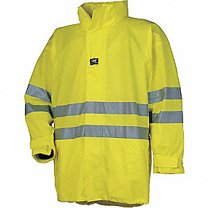 "Men's Yellow Polyurethane Rain Jacket with Hood, Size S, Fits Chest Size 34"" to 36"""