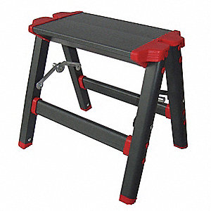 "Aluminum Step Stool, 11-1/2"" Overall Height, 225 lb. Load Capacity, Number of Steps 1"