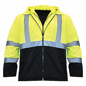Hooded Jacket,Insulated,Yellow/Black,XL
