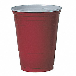 16 oz. Disposable Cold Cup, Polystyrene Plastic, Red, PK 1000