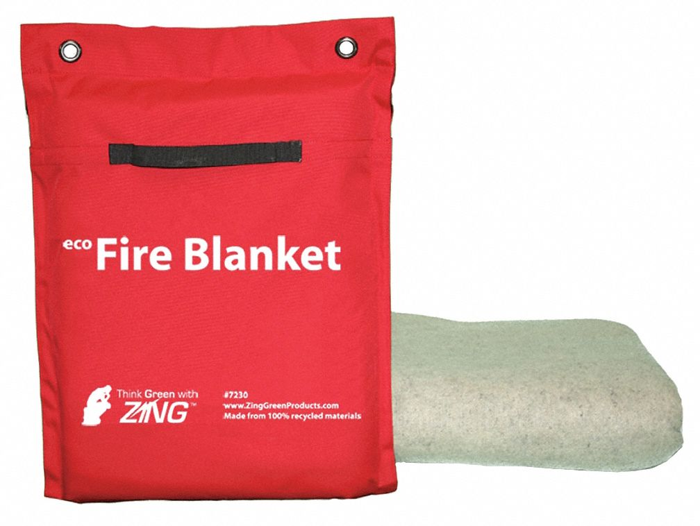 Zing Fire Blanket And Tote Synthetic Fiber 60 Quot Blanket Width 96 Quot Blanket Length White 12n816 7230 Grainger