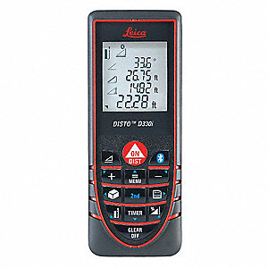 "Indoor Laser Distance Meter, ±1/16"" Accuracy, 1.6"" to 325 ft. Range"