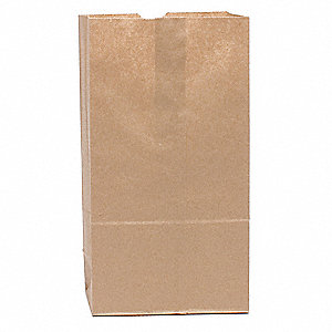 "Grocery Bag, Brown, 5 lb., No Handle, Flat Bottom, Width 5-1/4"", Height 10-15/16"", 500 PK"