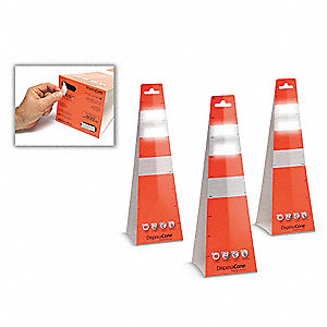 Disposable Cone,18 In. H,Orange/White
