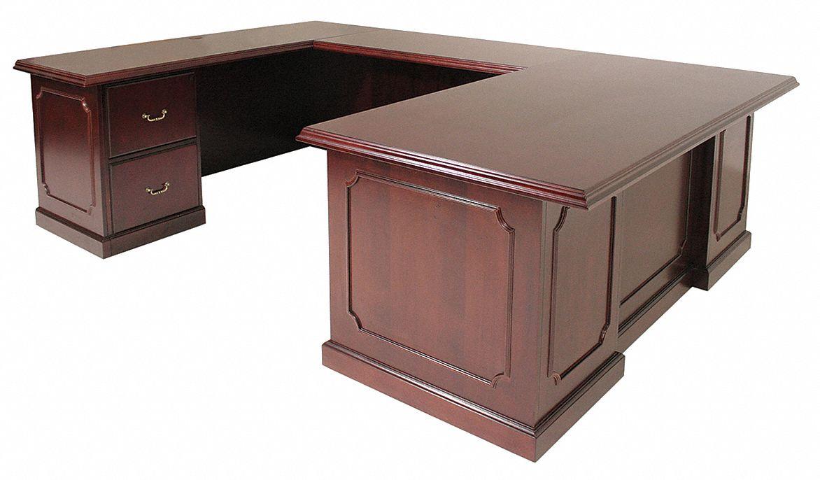 Regency u shape office desk 72x29x104in mahogany 12t343 for S shaped office desk