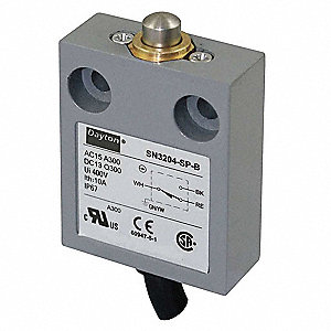 Miniature Prewired Limit Switch, 300VAC/DC Voltage Rating, 10 Amps, Top Actuator Location