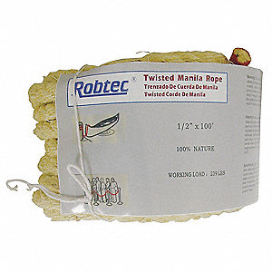 "Manila Rope, 3/8"" Rope Dia., 600 ft. Length, Natural"