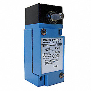 Heavy Duty Limit Switch, 600VAC/250VDC Voltage Rating, 10 Amps, Side Actuator Location