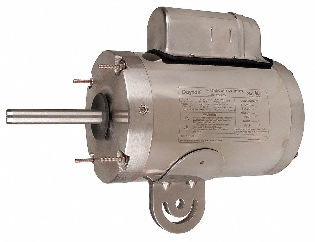 Dayton 1 2 hp washdown motor capacitor start run 1075 for Dayton capacitor start motor