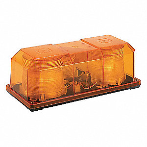 Amber Strobe Mini Lightbar, Strobe Lamp Type, Permanent Mounting, Number of Heads: 2