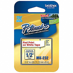Red on White Thermal Film Label Tape Cartridge, Indoor/Outdoor Label Type, 26-1/5 ft. Length, 0.47""