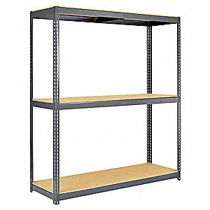 "Gray Boltless Shelving Starter Unit, 84"" Height, 96"" Width, Number of Shelves 3"