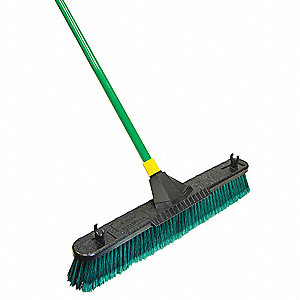 "Split Tip Poly Fibers Push Broom with Handle, Block Size 24"", Heavy Duty Resin Block Material"