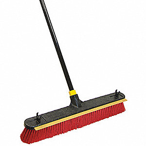 "Polypropylene Push Broom with Handle, Block Size 24"", Heavy Duty Resin Block Material"
