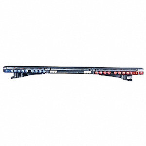 Red/Blue Low Profile Lightbar, LED Lamp Type, Permanent Mounting, Number of Heads: 12