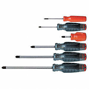 Phillips Screwdriver Set, Multicomponent, Number of Pieces: 6
