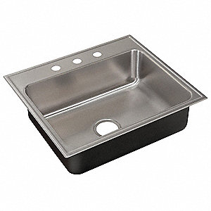 Drop-In Sink with Faucet Ledge,33 In. L